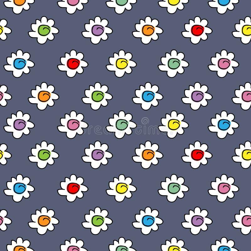 Ciemny tekstylny błękit barwił eleganckiego bezszwowego wektorowego tło z rumianków kwiatami, mali śliczni kwiaty ilustracji
