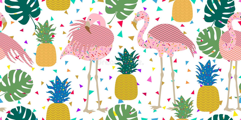 Ciemny tropikalny druk Bezszwowy wektoru wzór z różowymi flamingami i złotymi ananasami royalty ilustracja