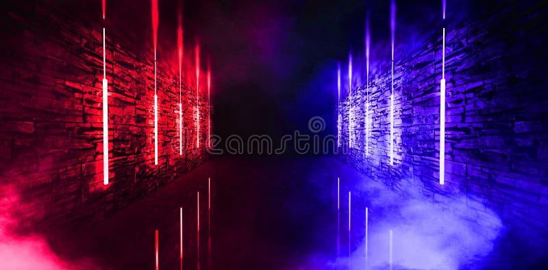 Ciemny tunel, korytarz, pokój z dymem, neonowy światło, czerwień i błękitny neonowy, ilustracji