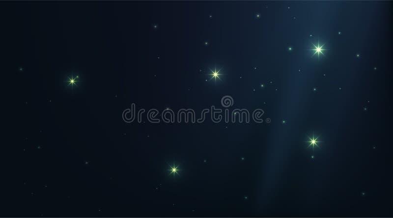 Ciemny wszechrzeczy nocne niebo z jaśnienie gwiazdami Gwiazdozbioru cienia głęboki błękitny tło Jaskrawa wektorowej przestrzeni g ilustracja wektor