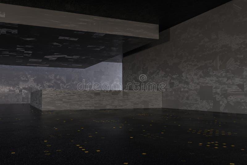Ciemny zaniechany pokój, kreatywnie architektoniczna budowa, 3d rendering royalty ilustracja