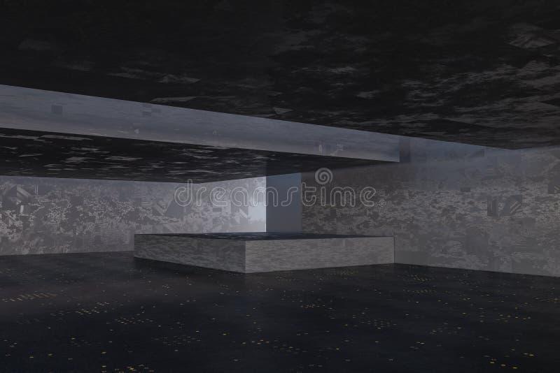 Ciemny zaniechany pokój, kreatywnie architektoniczna budowa, 3d rendering ilustracji