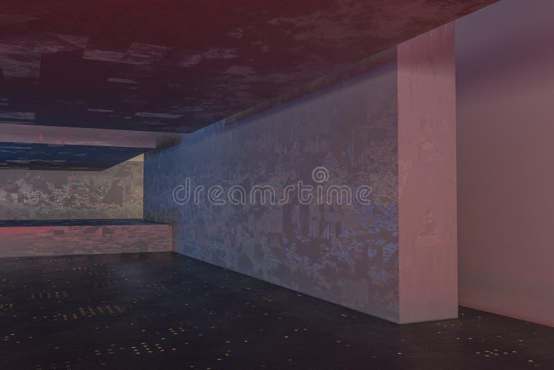 Ciemny zaniechany pokój, kreatywnie architektoniczna budowa, 3d rendering ilustracja wektor