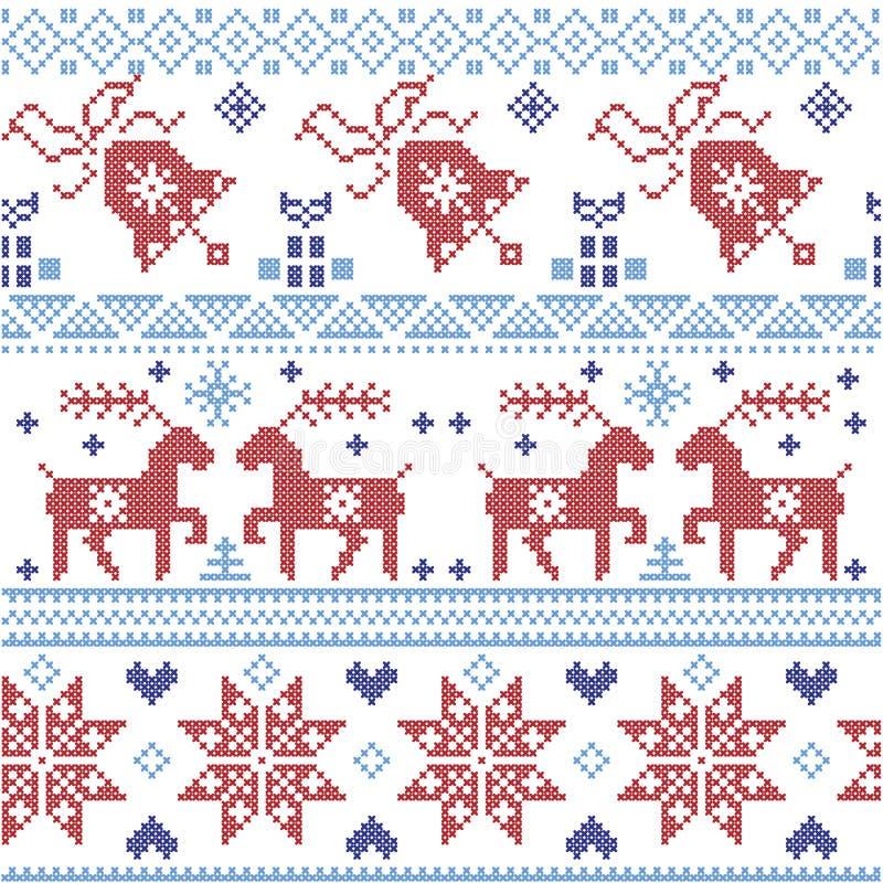 Ciemnych, bławych i czerwonych Scnadinavian bożych narodzeń ściegu przecinający wzór wliczając renifera, płatek śniegu, gwiazda,  royalty ilustracja