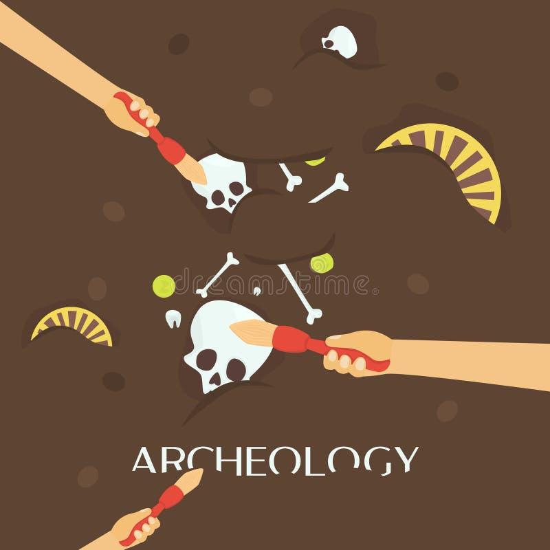 Ciencia de la arqueología Fósiles antiguos Descubrimiento de un jarro, artefactos antiguos de los cazadores de tesoros stock de ilustración