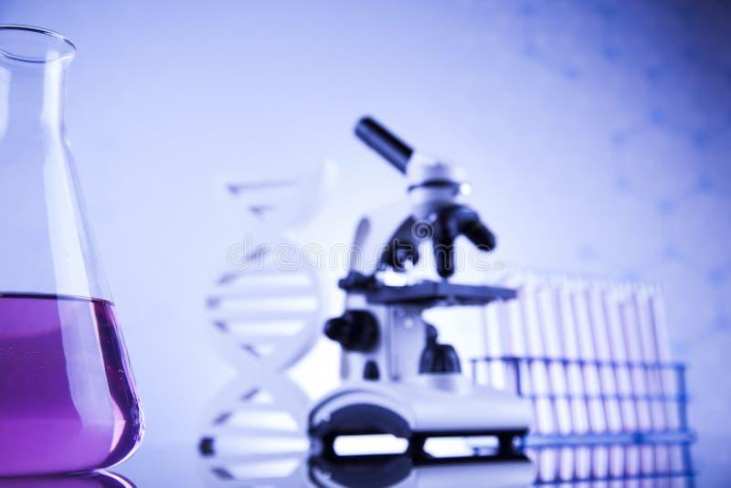 Ciencia de la química, fondo de la cristalería de laboratorio fotos de archivo