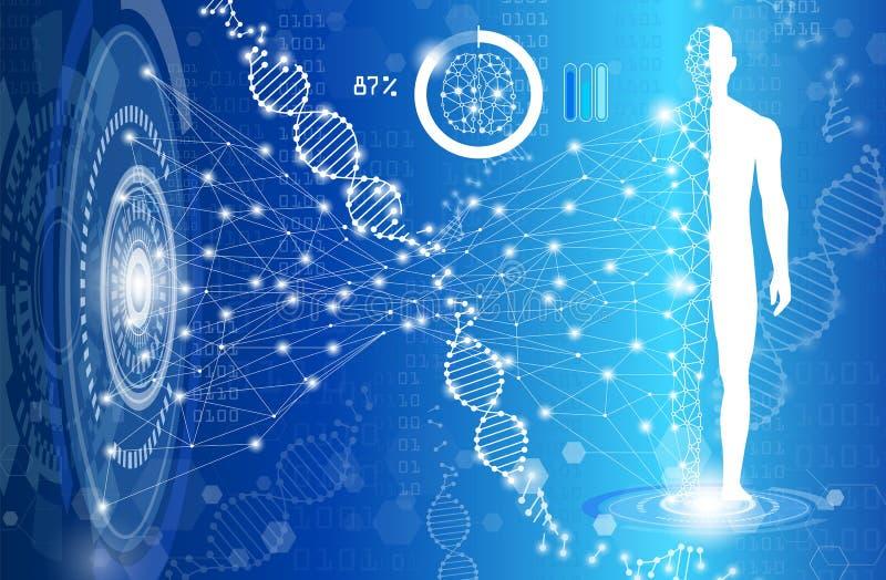 Ciencia del fondo y concepto abstractos de la tecnología en azul stock de ilustración