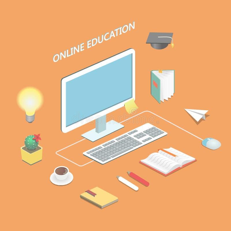 Ciencia en línea del aprendizaje electrónico de la educación isométrica ilustración del vector