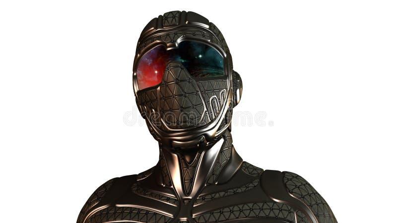 Ciencia ficción Ninja, guerrero futurista en máscara en blanco libre illustration
