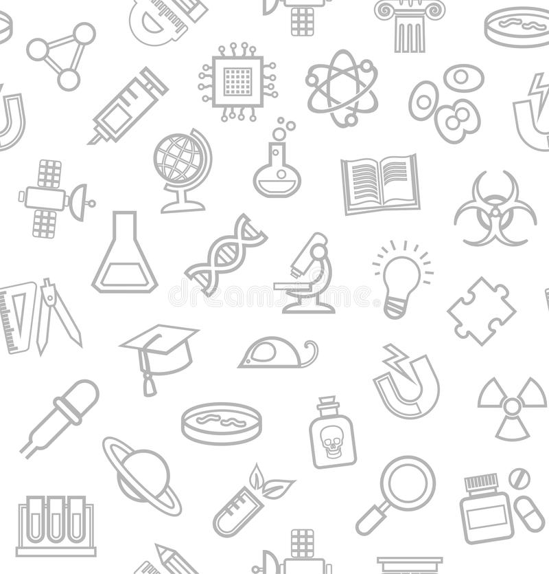 Ciencia, fondo blanco, iconos del contorno, monocromo, inconsútil, vector ilustración del vector
