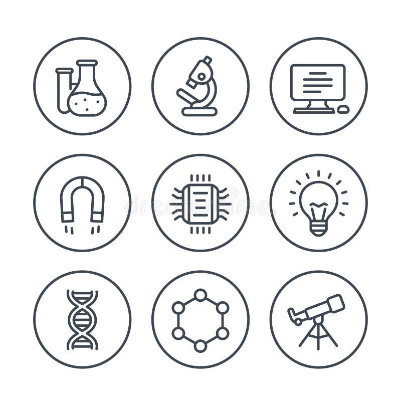 Ciencia, línea iconos de la investigación en blanco libre illustration