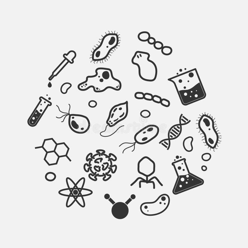 Ciencia simple y sistema micro del icono del organismo ilustración del vector