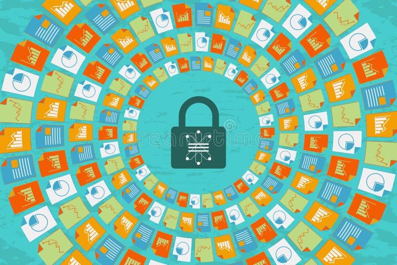 Ciencia y comunicación de los datos con concepto de la seguridad ilustración del vector