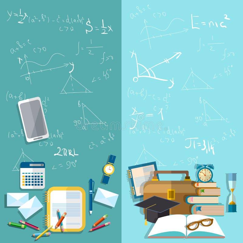 Ciencia y educación: consejo escolar, banderas del vector libre illustration