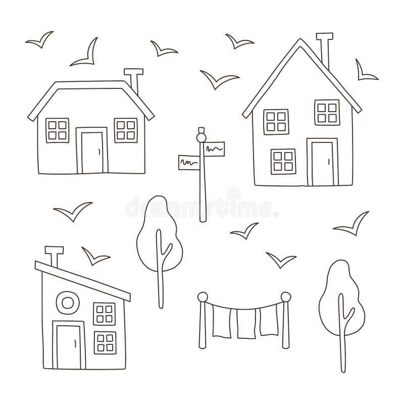 Ciency kreskowi prości wioska domy ustawiający ilustracji