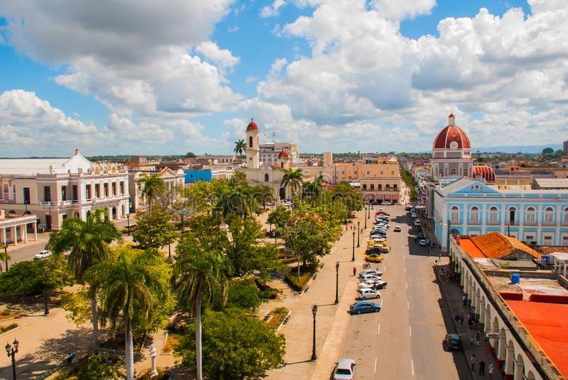 CIENFUEGOS, CUBA: View from the terrace of the building Municipality, City Hall, Government Palace and Catheadral of Immaculate Co. Nception. Parque Jose Marti stock photo