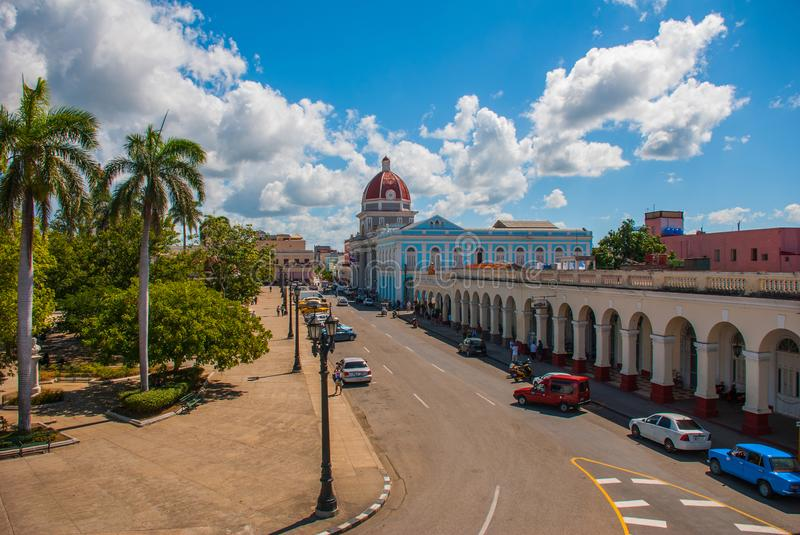 CIENFUEGOS, CUBA: The view from the top of the building Municipality, City Hall, Government Palace. Parque Jose Marti square in th stock photo