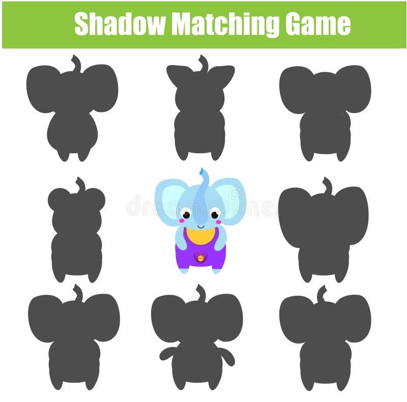 Cienia dopasowywania gra Żartuje aktywność z kreskówka słoniem ilustracji