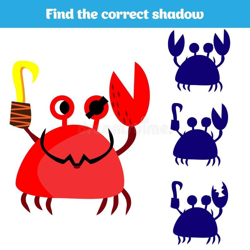 Cienia dopasowywania gra dla dzieci Znajduje prawego cień Aktywność dla preschool dzieciaków Zwierzę obrazki dla dzieciaków royalty ilustracja