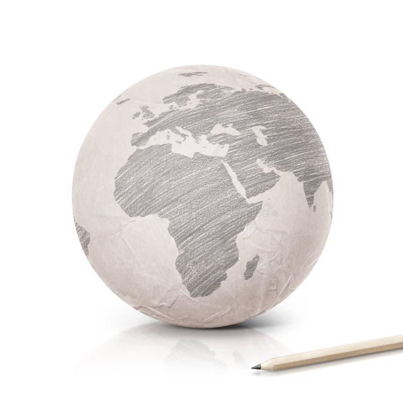 Cienia Europa mapa na papierowej kuli ziemskiej obrazy royalty free