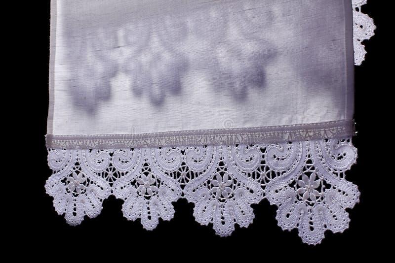 cienia koronkowy ręcznik obraz stock