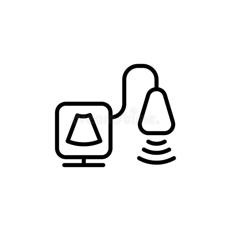 Cienieje kreskową ultradźwięk ikonę ilustracja wektor