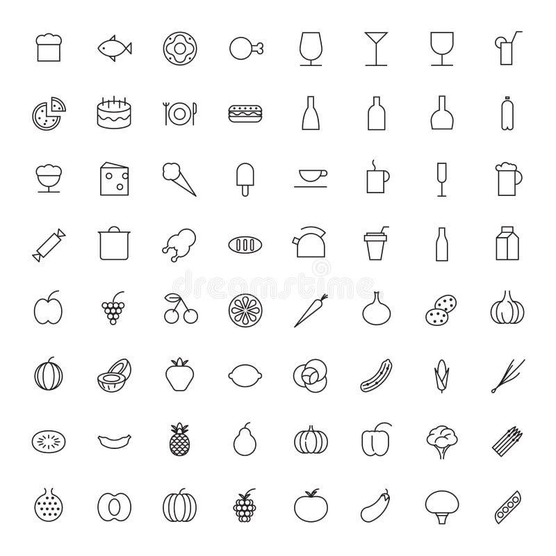 Cienieje Kreskowe ikony Dla jedzenia i napojów ilustracja wektor