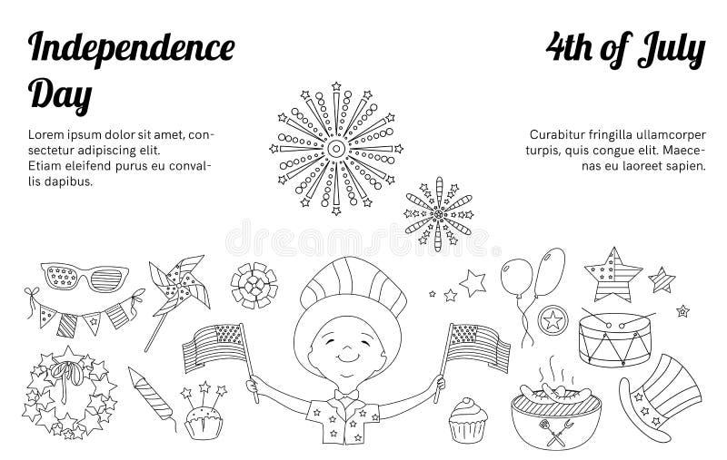 Cienieje kreskowe ikony dla usa dnia niepodległości ilustracji