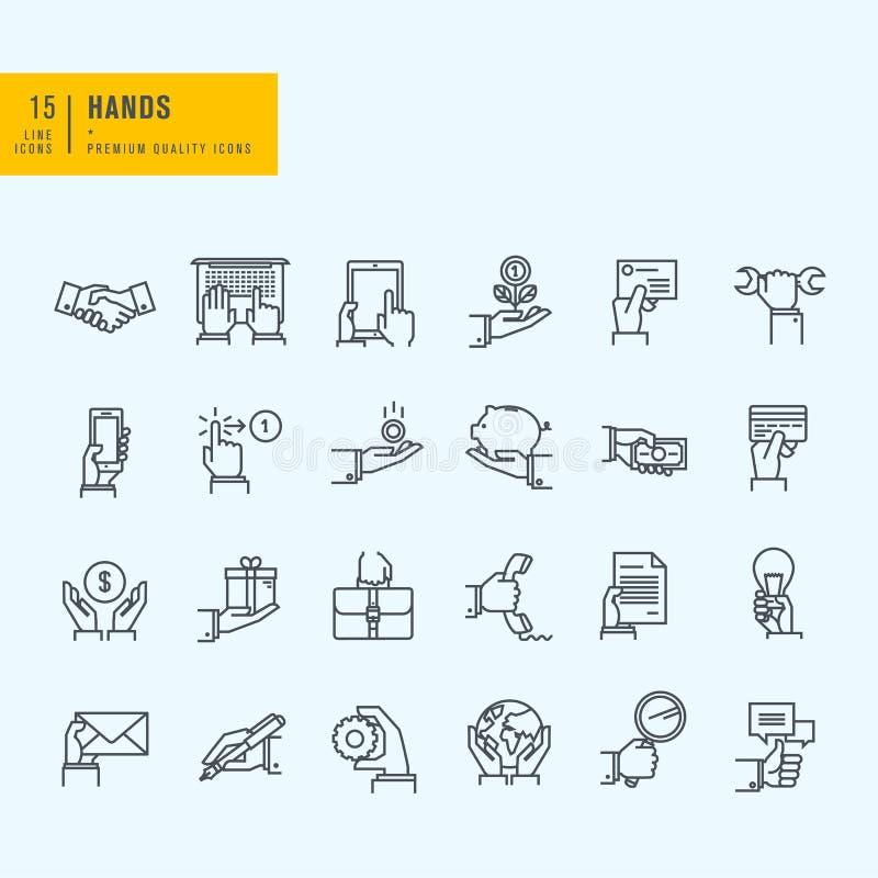 Cienieje Kreskowe ikony ustawiać ilustracja wektor