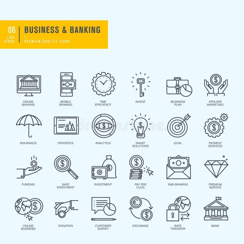 Cienieje Kreskowe ikony ustawiać Ikony dla biznesu, bankowość, bankowość ilustracji