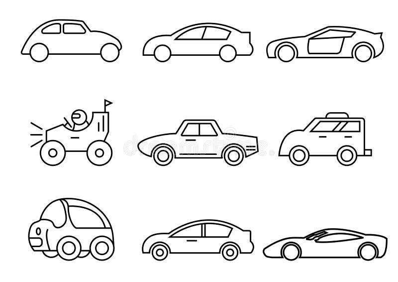 Cienieje kreskowe ikony ustawiać, transport, Samochodowy boczny widok, wektorowe ilustracje ilustracji