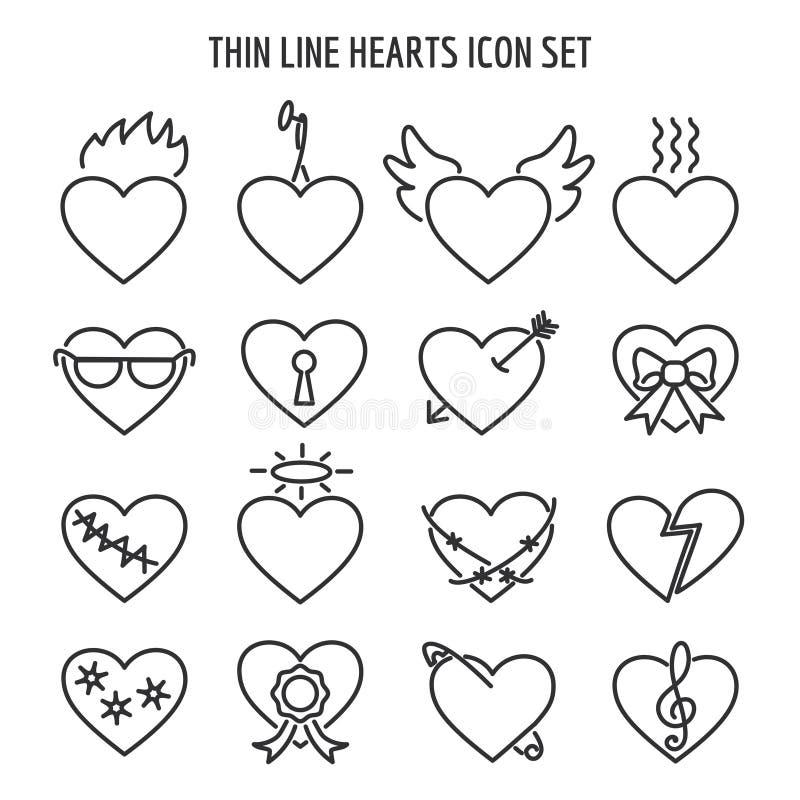Cienieje kreskowe kierowe ikony Wektorowy liniowy łamać, małżeństwo i kędziorków serc znaki, ilustracja wektor