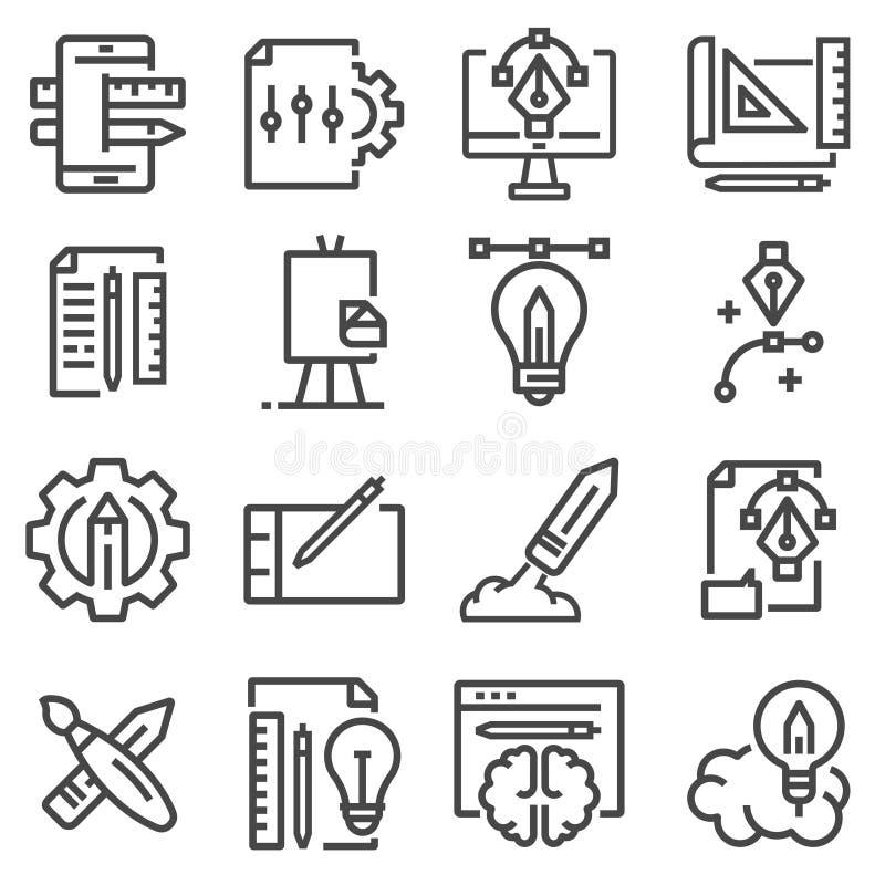 Cienieje kreskowe kreatywnie procesu i projekta obieg ikony ustawiać ilustracja wektor