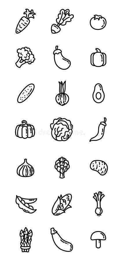 Cienieje kreskowe płaskie karmowe ikony Warzywo sieci klamerki odosobniona sztuka ilustracja wektor