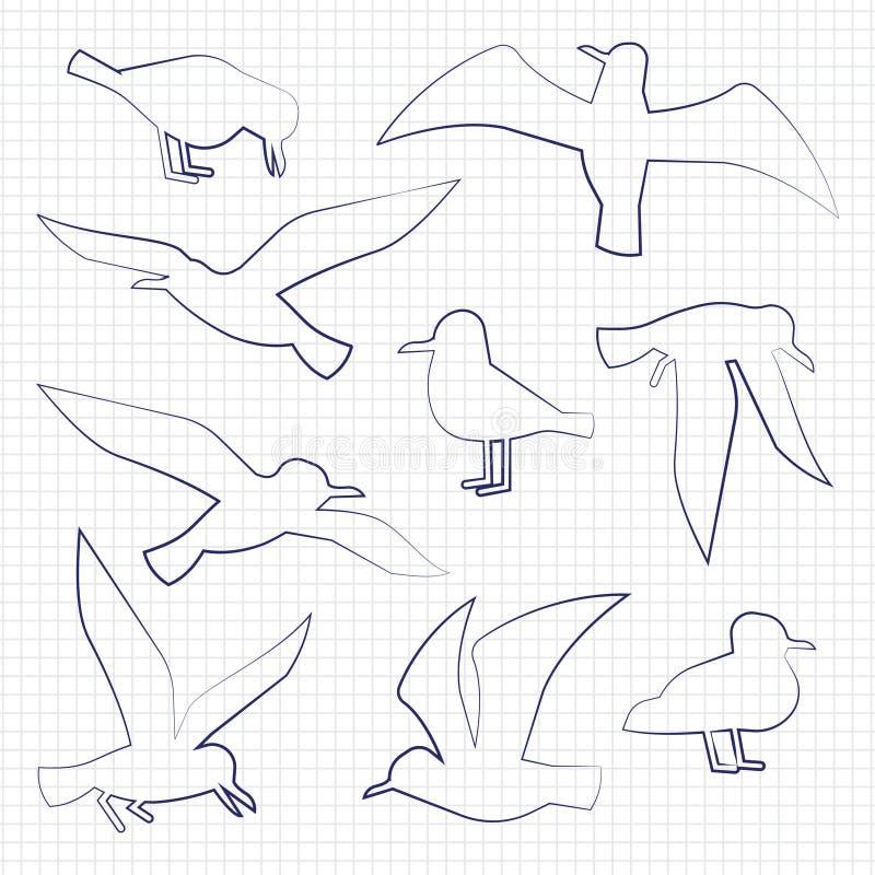 Cienieje kreskowe ptak sylwetki ilustracji