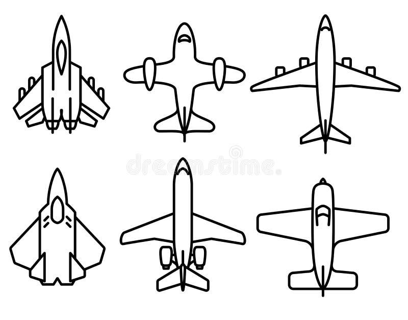 Cienieje kreskowe samolotowe ikony ustawiać ilustracji
