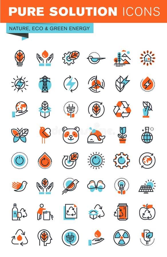 Cienieje kreskowe sieci ikony dla środowiska ilustracja wektor