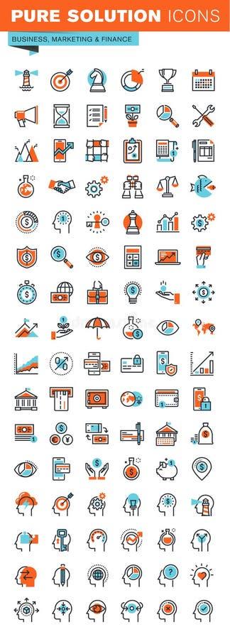 Cienieje kreskowe sieci ikony dla biznesu, marketingu i finanse, ilustracji