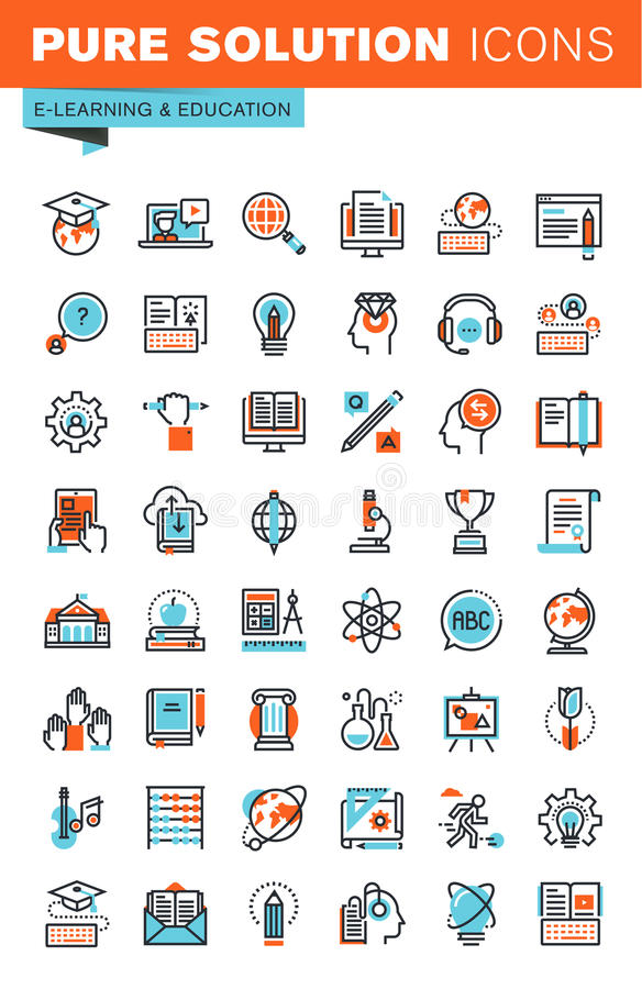 Cienieje kreskowe sieci ikony dla edukaci ilustracji