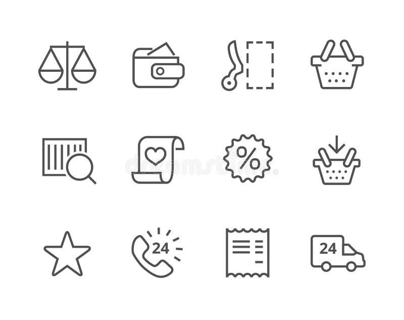 Cienieje kreskowe zakupy ikony ustawiać. royalty ilustracja