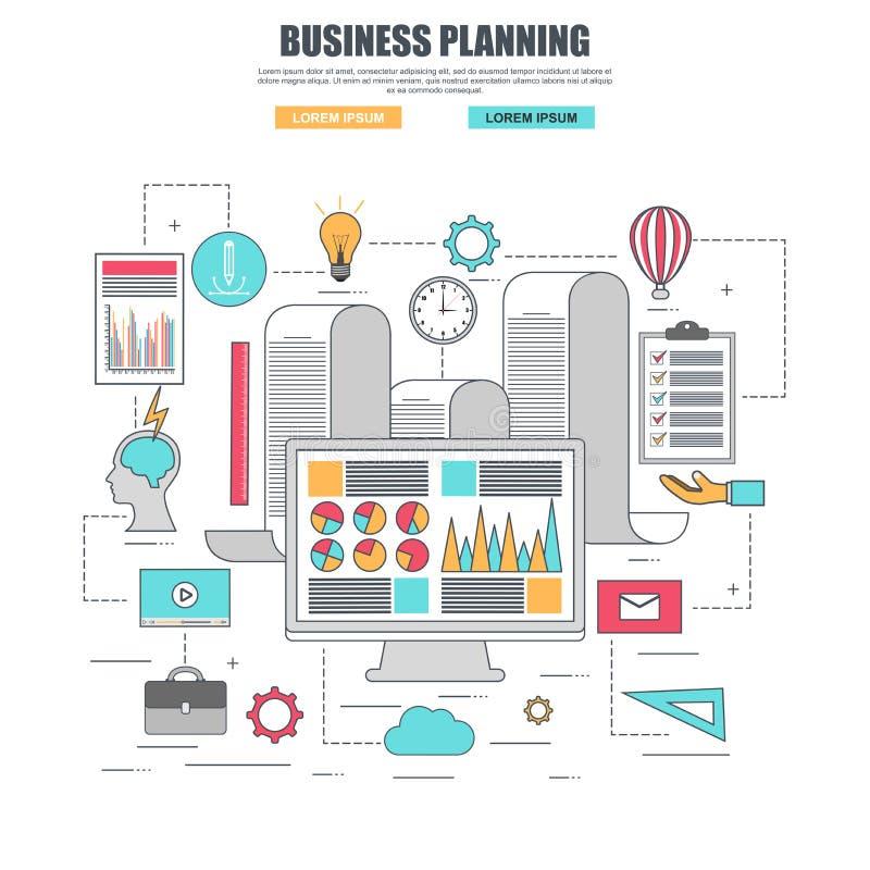 Cienieje kreskowego płaskiego projekta pojęcie dla biznesowego planowania ilustracji