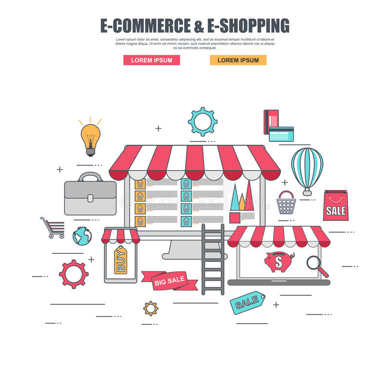 Cienieje kreskowego płaskiego projekta pojęcie zakupów towary w online sklepie ilustracji