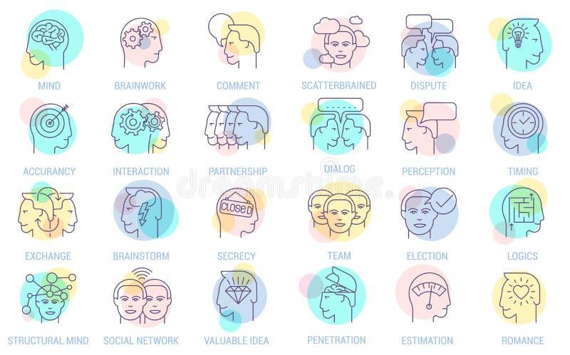 Cienieje kreskowego wektorowego brainstorming ikony biznesowego set ilustracja wektor