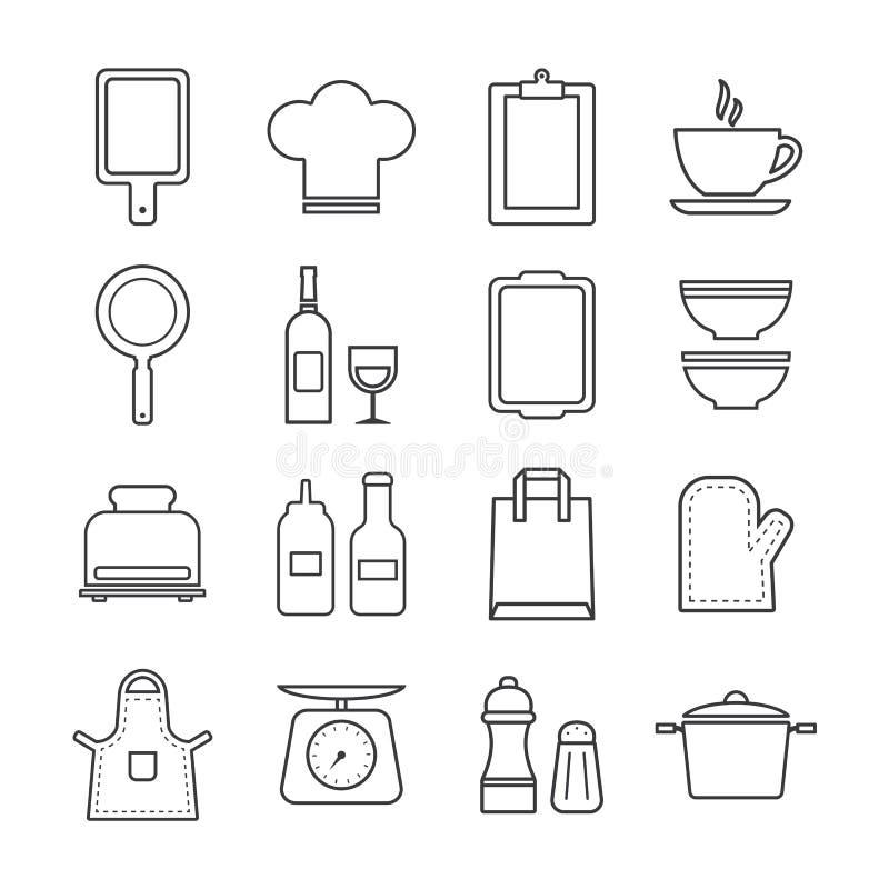 Cienieje kreskowej ikony ustaloną kuchnię i kucharstwo royalty ilustracja