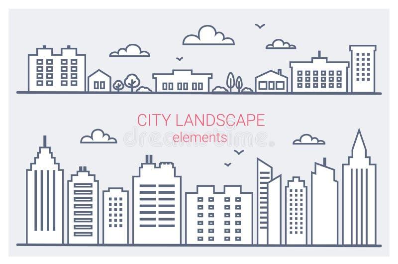 Cienieje kreskowych miasto budynki ustawiających Śródmieście krajobraz z wysokimi drapaczami chmur Panoramy architektury miasta k ilustracja wektor