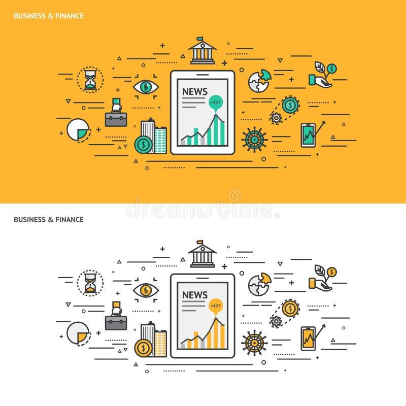 Cienieje kreskowych płaskich projekta pojęcia sztandary dla biznesu i Finansuje royalty ilustracja