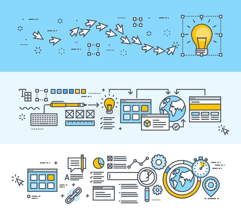 Cienieje kreskowych płaskich projekta pojęcia sztandary dla procesu, sieć projekta i SEO kreatywnie, royalty ilustracja