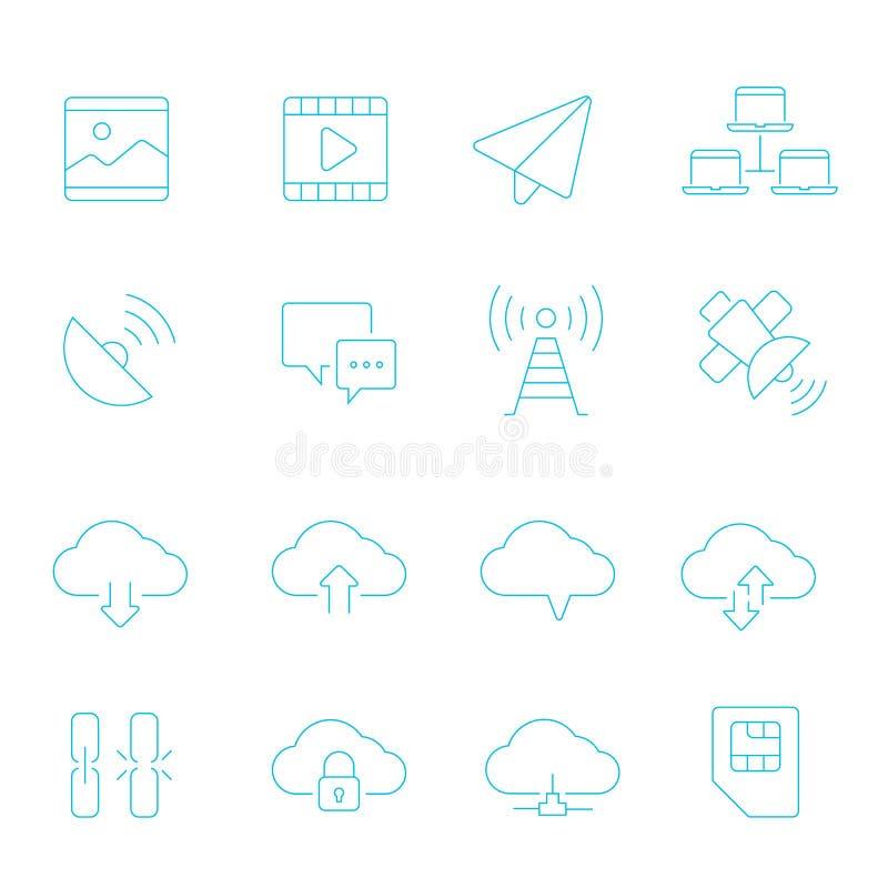 Cienieje linii ikonę ustawiającą - sieci komunikacja royalty ilustracja