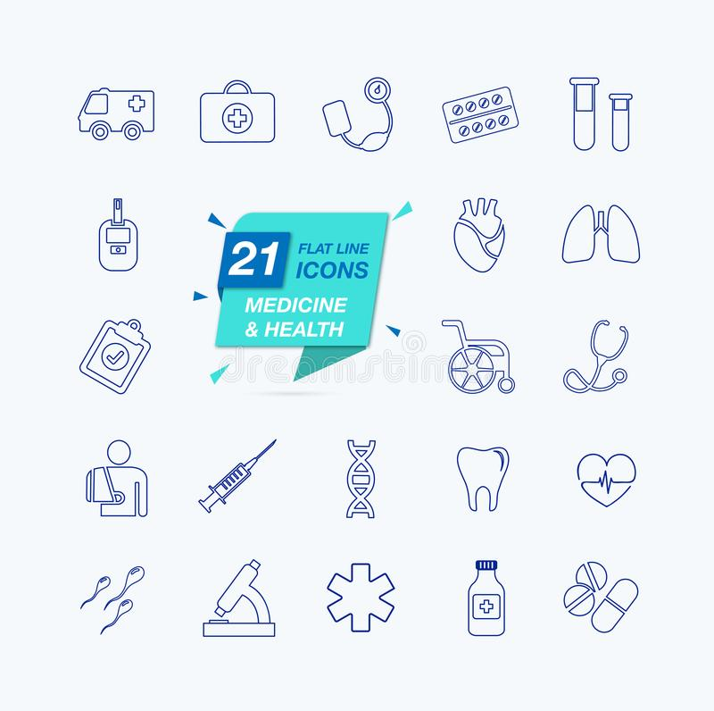 Cienieje linii sieci ikonę ustawiającą - medycyny i zdrowie symbole royalty ilustracja