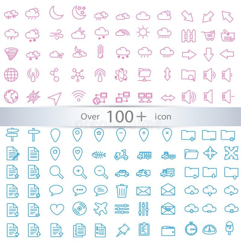 Cienieje linii sieci ikony ustawiać ilustracji